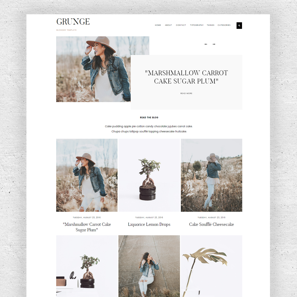 Single column gallery theme blogger