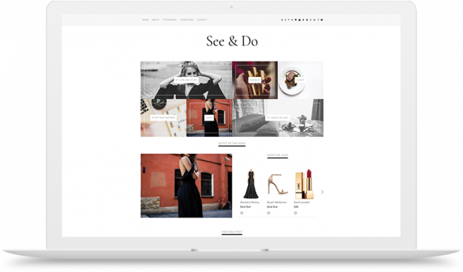 see & do blogger template left right layout custom categories sticky menu bar